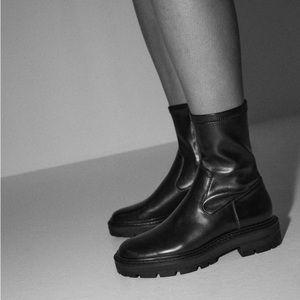 Zara low heel lug sole ankle boot